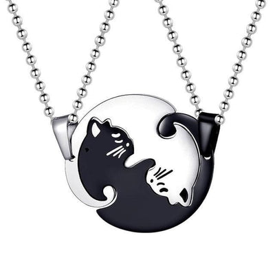 Matching Cat Necklaces for Couples - Necklace - Black-White Pair