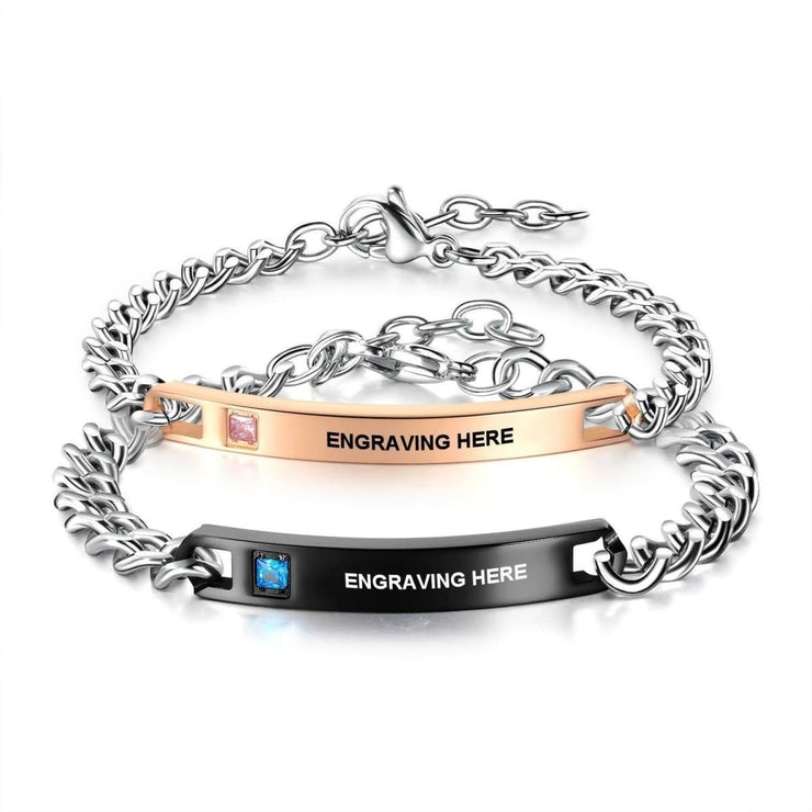 Matching Couple Bracelets With Custom Engraving - CoupleGifts.com