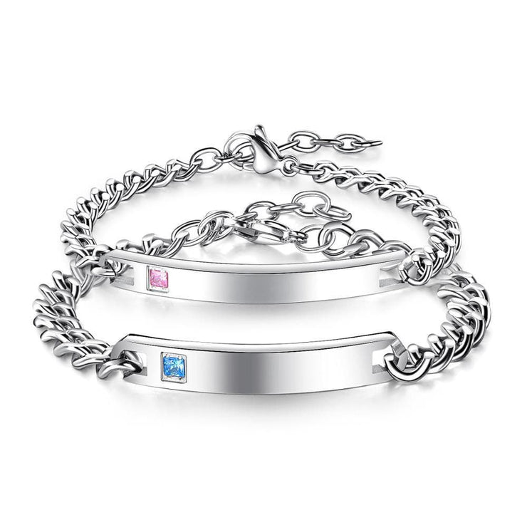 Matching Couple Bracelets With Custom Engraving - Silver - CoupleGifts.com