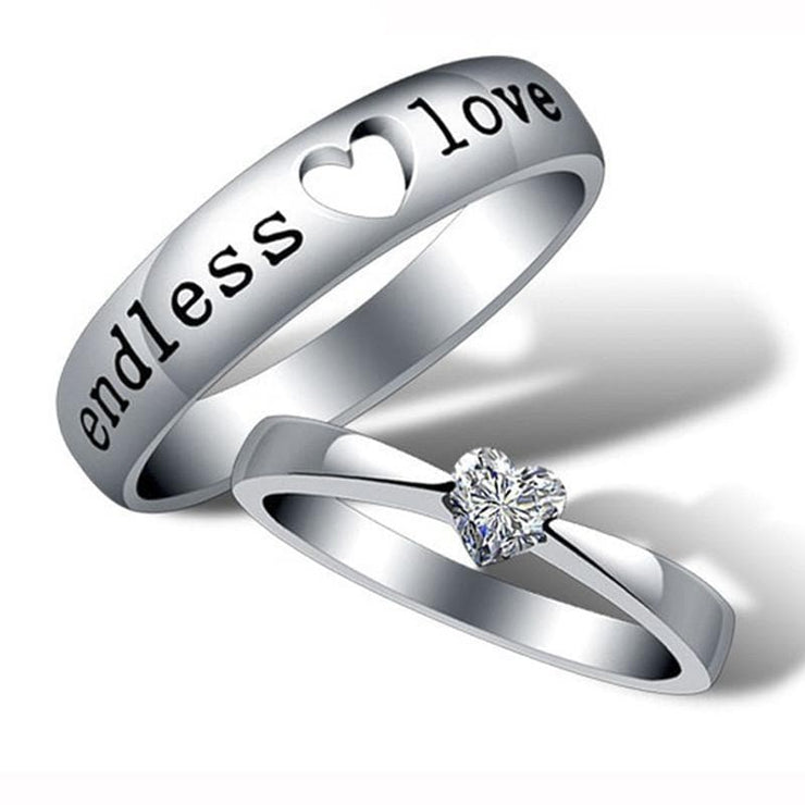 Matching Couples Rings with Heart Shaped Zircon Crystal - CoupleGifts.com