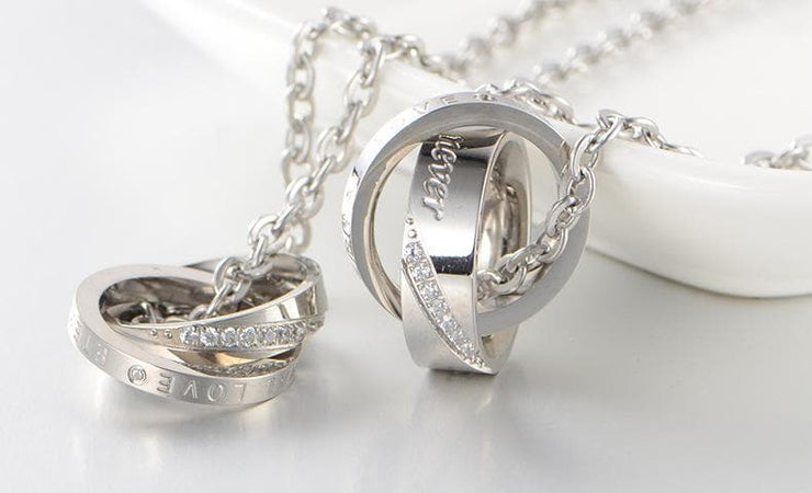 Matching Forever Love Promise Rings on a Necklace - CoupleGifts.com