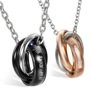 Matching Necklaces with King and Queen Couples Rings - CoupleGifts.com