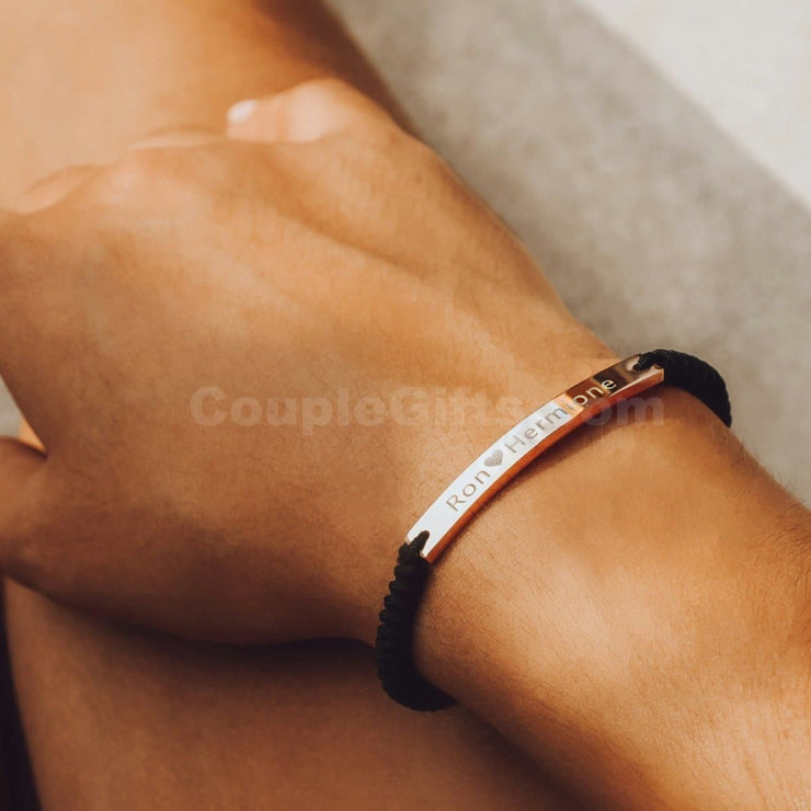 Matching Rope Bracelets with Personalized Engraving - CoupleGifts.com