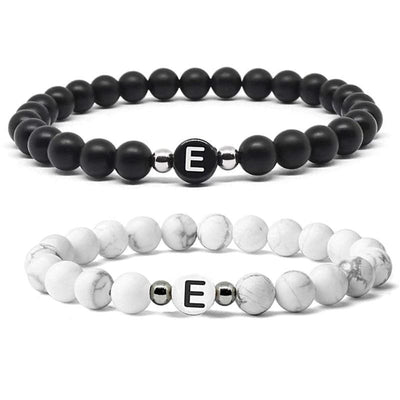 Matching Stone Distance Bracelets with Custom Letter - Bracelets - A