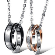 Necklaces with Matching Couples Rings King and Queen - CoupleGifts.com