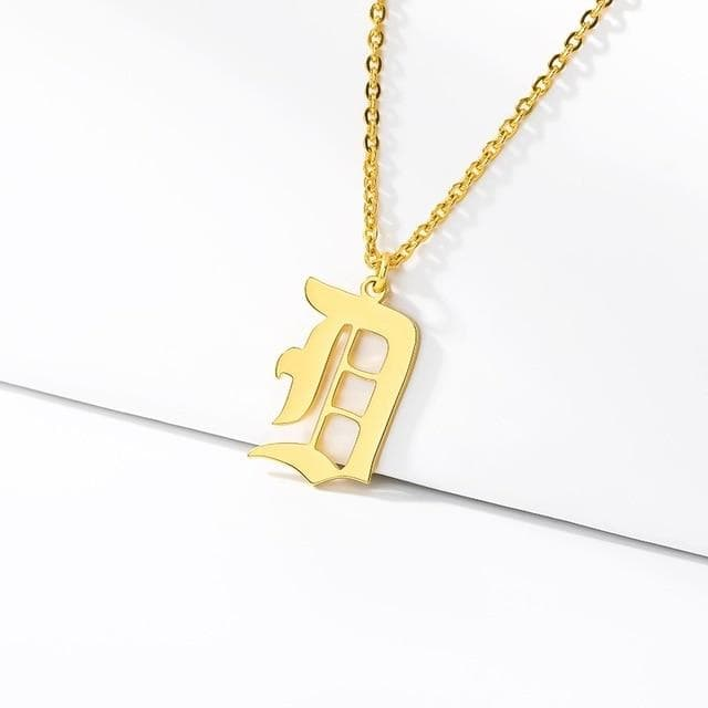 Old English Initial Letter Pendant Necklace