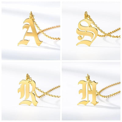 Old English Initial Letter Pendant Necklace - Necklace - A