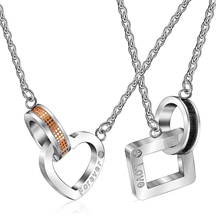 Paired Ring Heart and Square Pendant Couple Necklaces - CoupleGifts.com