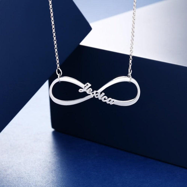 Personalized 925 Sterling Silver Infinity Name Necklace - CoupleGifts.com