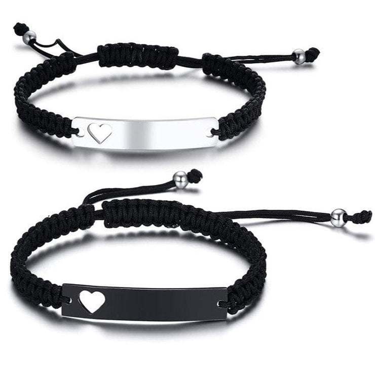 Personalized Bar Bracelets with Hearts - CoupleGifts.com