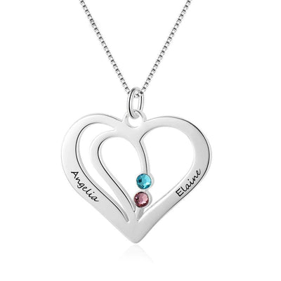 Personalized Birthstone Heart Necklace with Engraved Names - Necklace - United States
