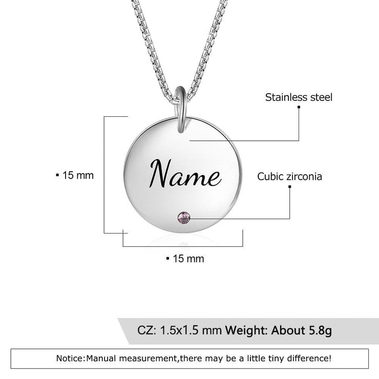 Personalized Birthstone Necklace with Engraved Name - CoupleGifts.com