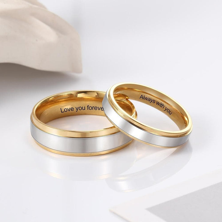 Personalized Couple Rings with Customized Engraving - CoupleGifts.com