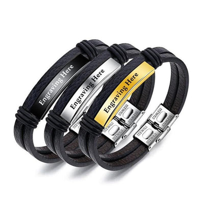 Personalized Engraved Leather Bracelets for Him - Bracelet - Black