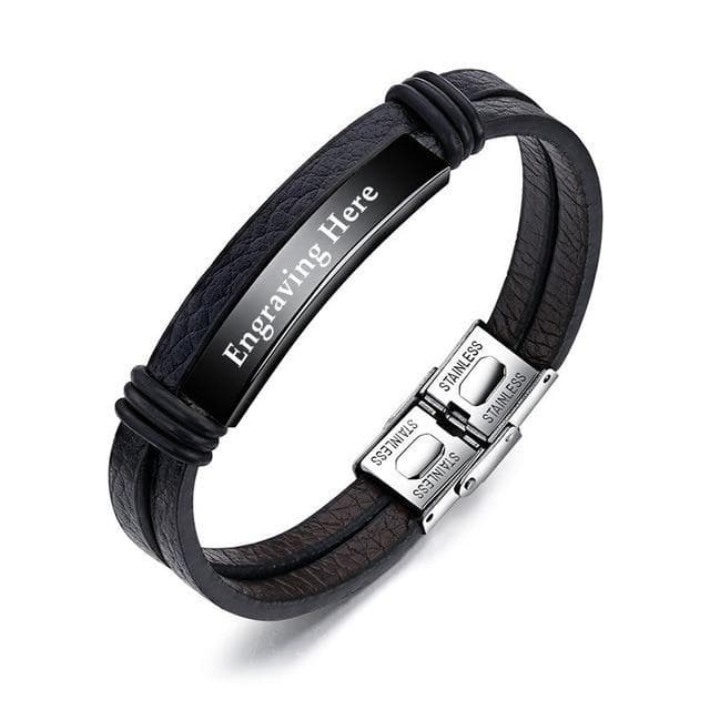 Personalized Engraved Leather Bracelets for Him - CoupleGifts.com
