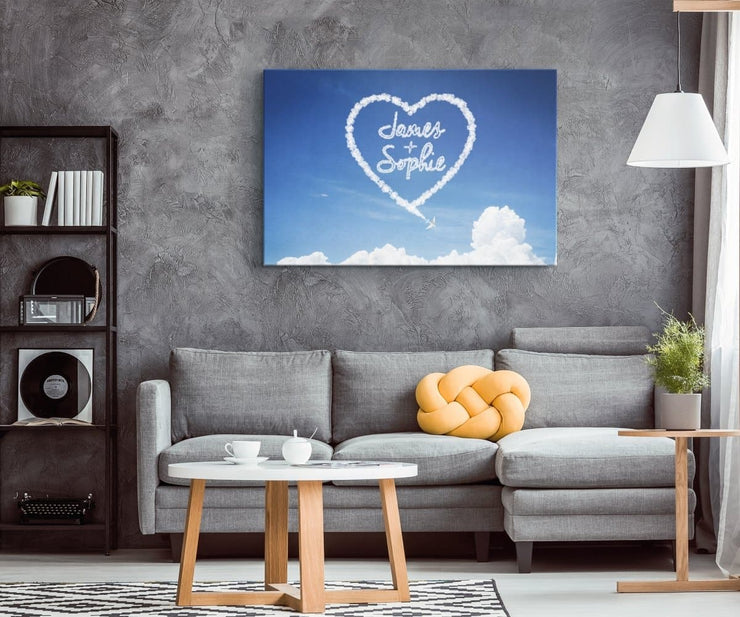 Personalized Heart Cloud Canvas - CoupleGifts.com