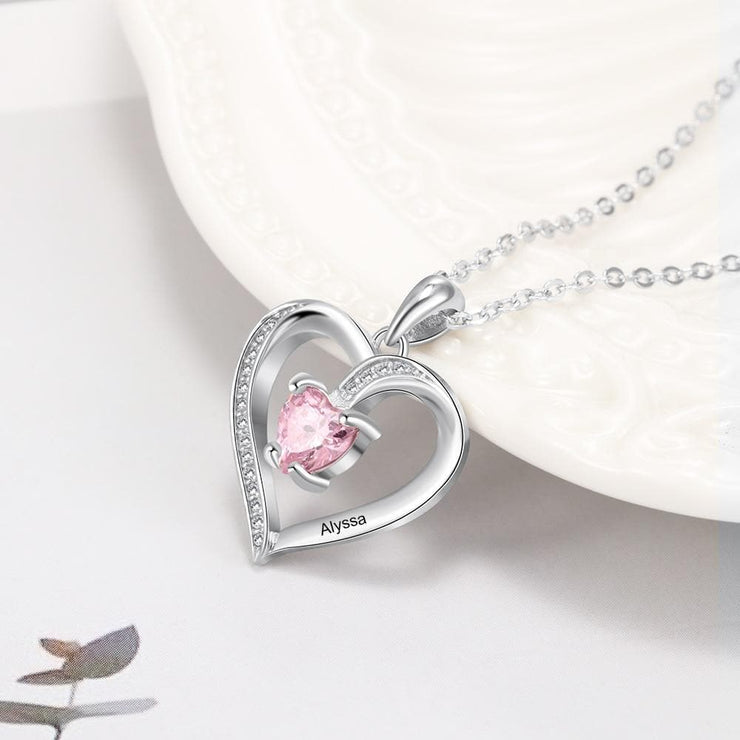 Personalized Heart Necklace with Custom Name and Birthstone - CoupleGifts.com