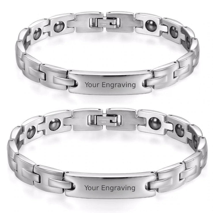 Personalized High-Quality Steel Bracelets for Couples - CoupleGifts.com