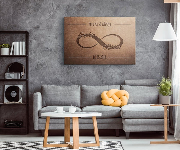 Personalized Leather Look Infinity Love Canvas - CoupleGifts.com