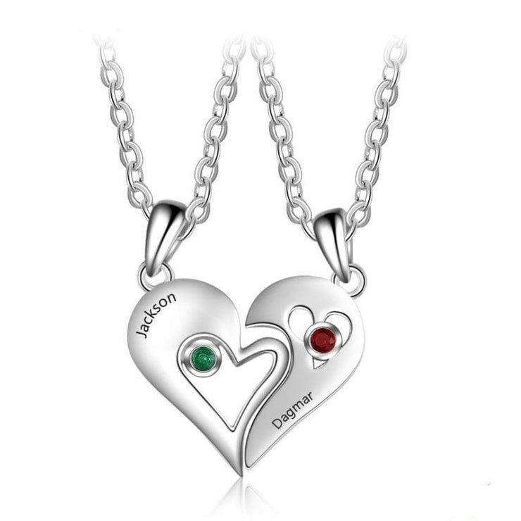 Personalized Matching Hearts Couple Necklace with Custom Names and Birthstones - CoupleGifts.com