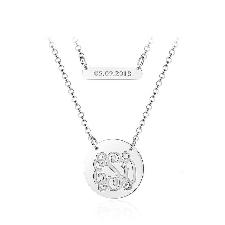 Personalized Monogram and Custom Date Necklace in 925 Sterling Silver - CoupleGifts.com