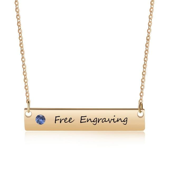 Personalized Name Bar Necklace with Birthstone - Gold - CoupleGifts.com