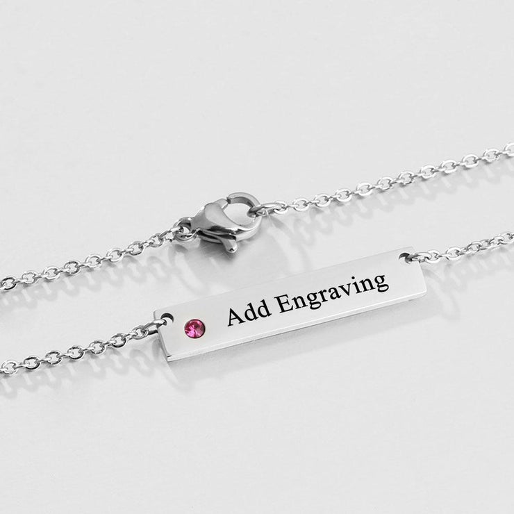 Personalized Name Bar Necklace with Birthstone - Silver - CoupleGifts.com