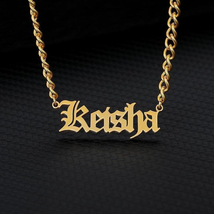Personalized Name Necklace - Old English - CoupleGifts.com