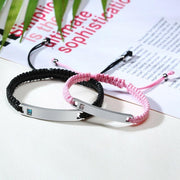 Personalized Rope Bracelets with Custom Engraving - Pink