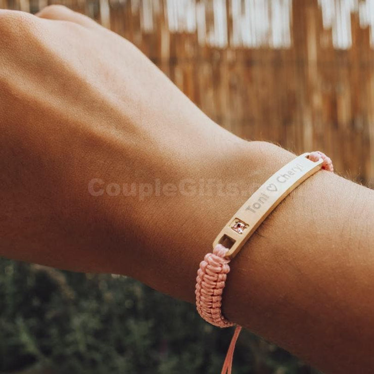 Personalized Rope Bracelets with Custom Engraving - Pink - CoupleGifts.com
