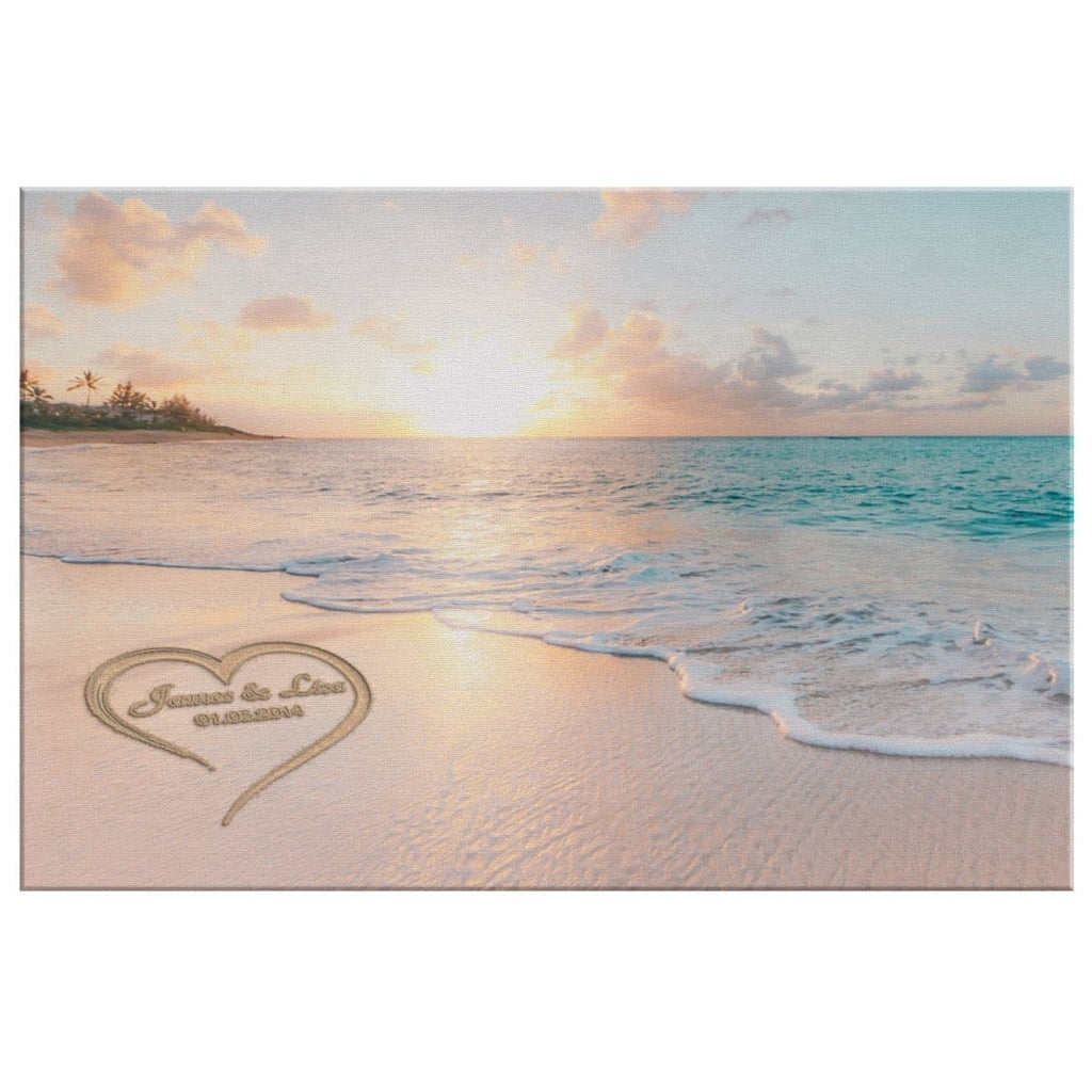 Sunset Beach Love in Heart Perfect Love Gift for Anniversary,Wedding,Birthday and Holidays. Personalized Canvas Printsor Framed Art Artwork with Couples Names and Date on