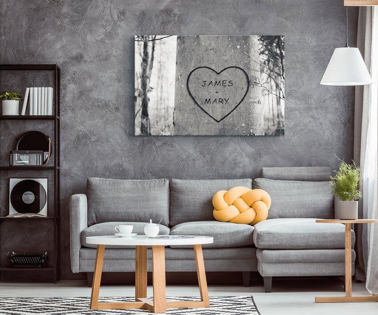 Personalized Tree Heart Canvas - CoupleGifts.com