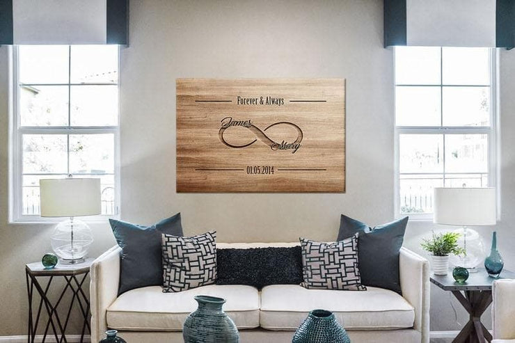 Personalized Wooden Look Infinity Love Canvas - CoupleGifts.com