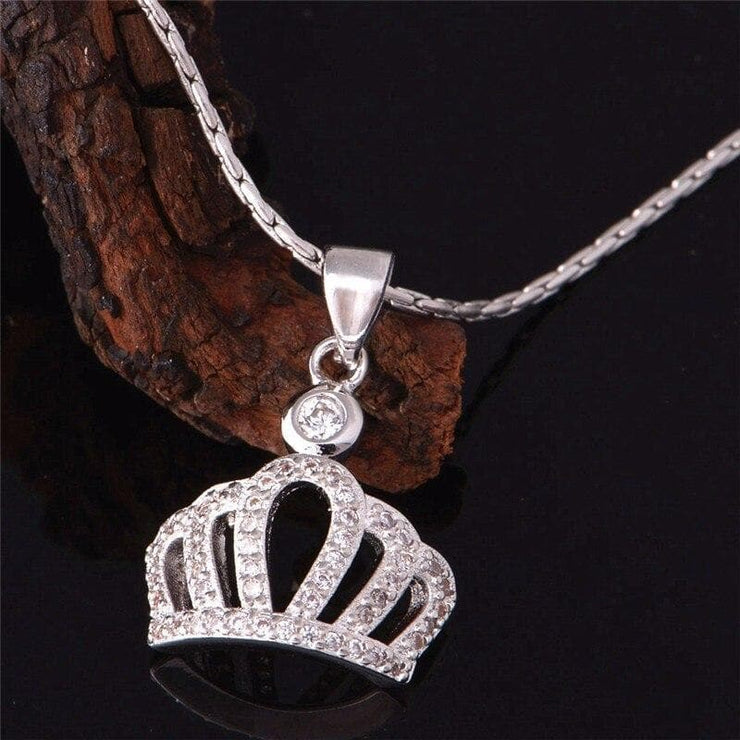 Princess Crown Pendant Necklace with Rhinestones - CoupleGifts.com