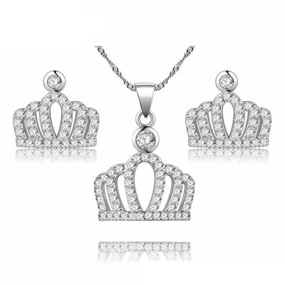 Princess Crown Pendant Necklace with Rhinestones - Necklace - Platinum Plated