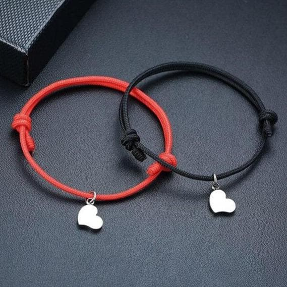 Rope Bracelets for Couples with Initial Letter on Heart Pendant - CoupleGifts.com