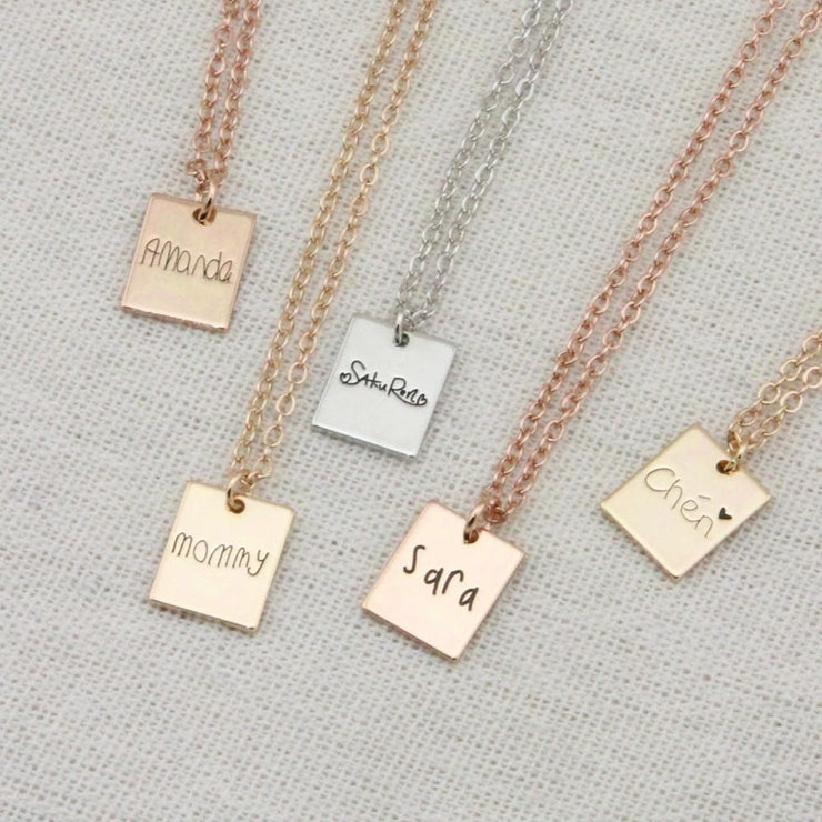 Tiny Name Necklace with Handwritten Signature Custom Engraved - CoupleGifts.com
