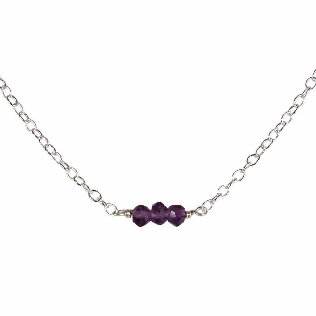 February | Amethyst Bead Bar Necklace