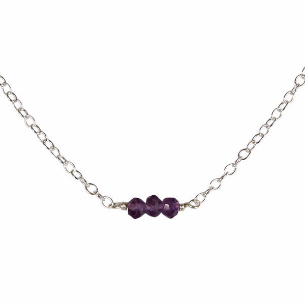 6th Wedding Anniversary | Amethyst Bead Bar Necklace
