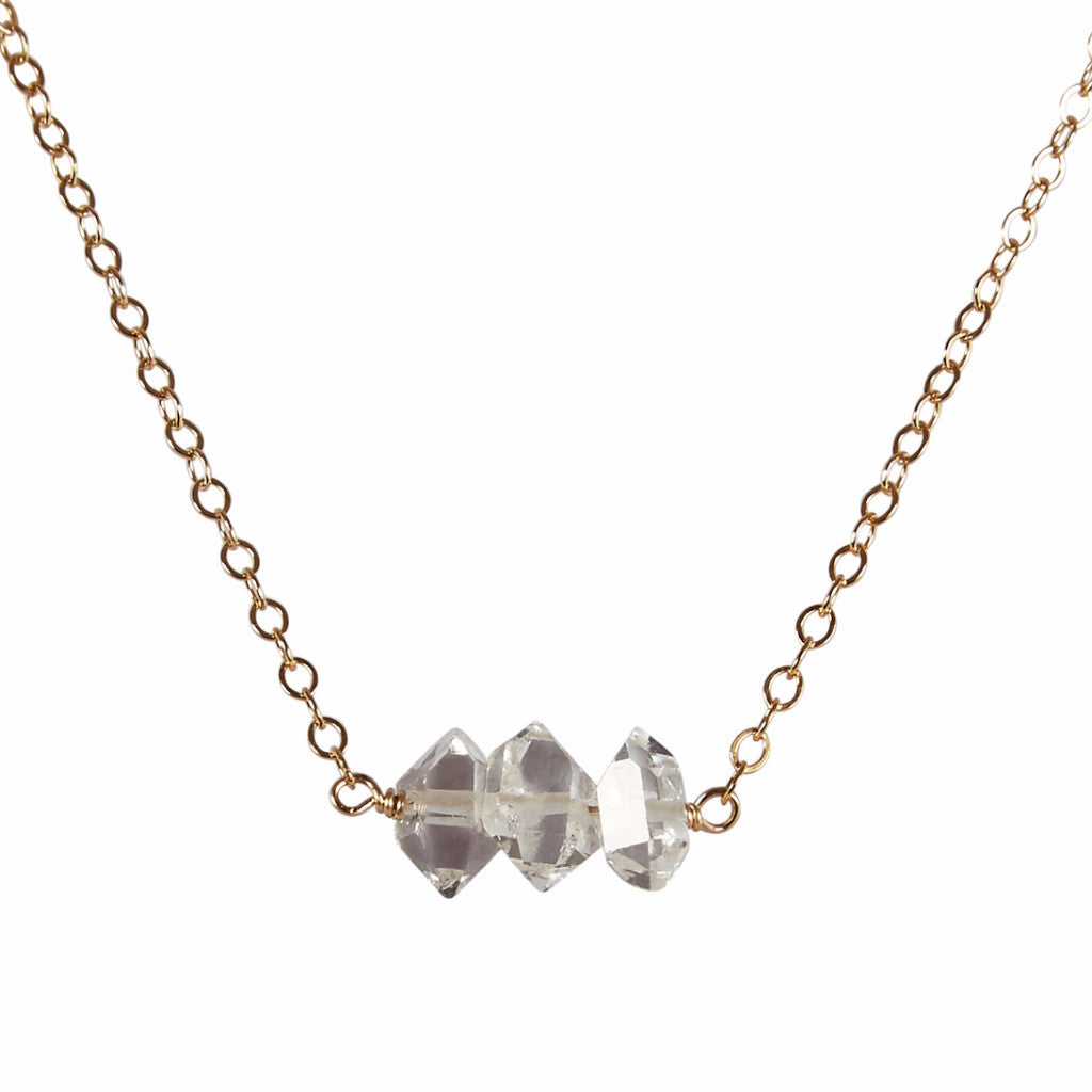 Herkimer 'Diamond' Bead Bar Necklace | Energy & Purity