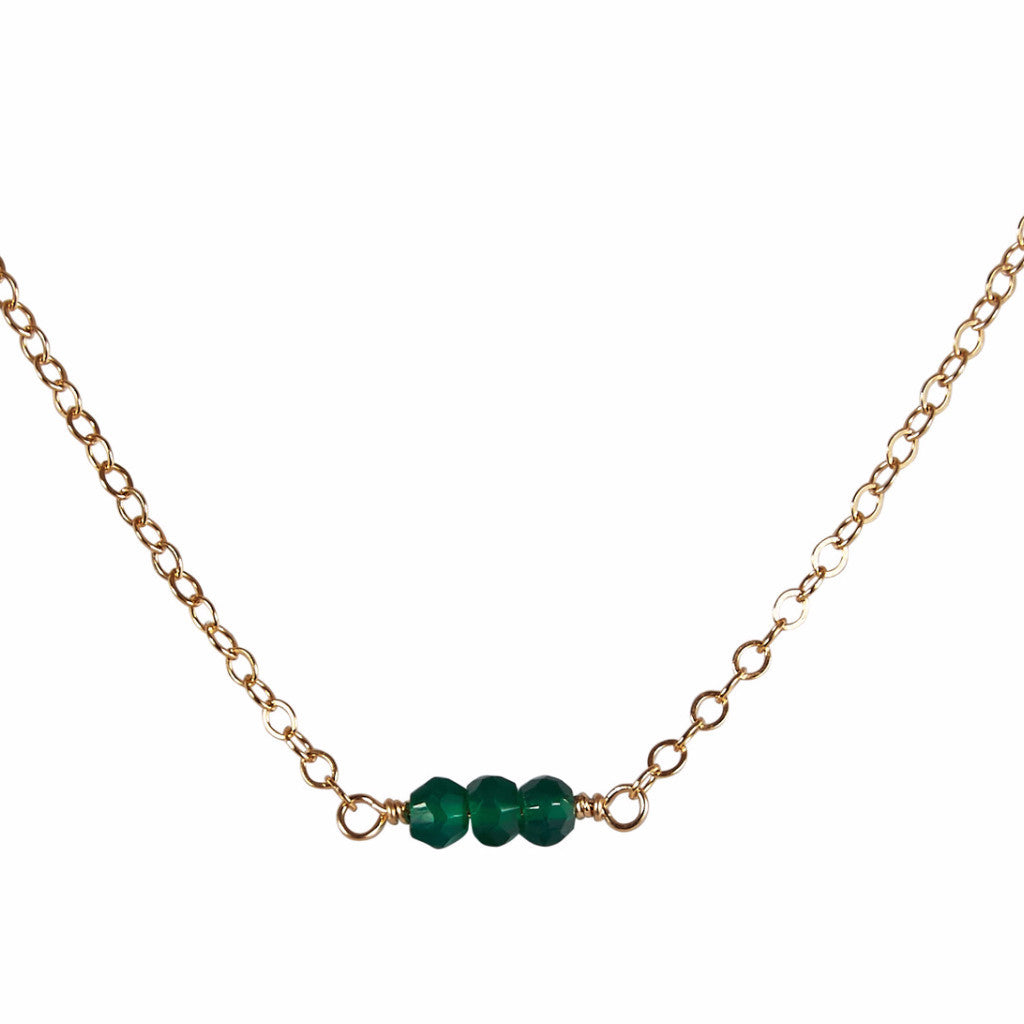 Emerald Green Onyx Bead Bar Necklace | Inspiration, Patience & Love