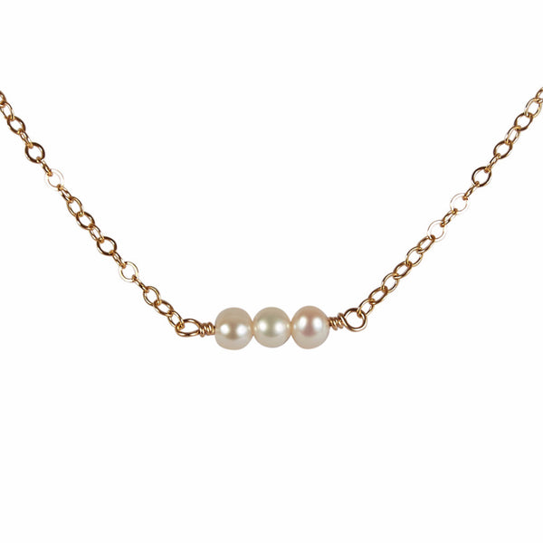3rd Wedding Anniversary | Pearl Bead Bar Necklace