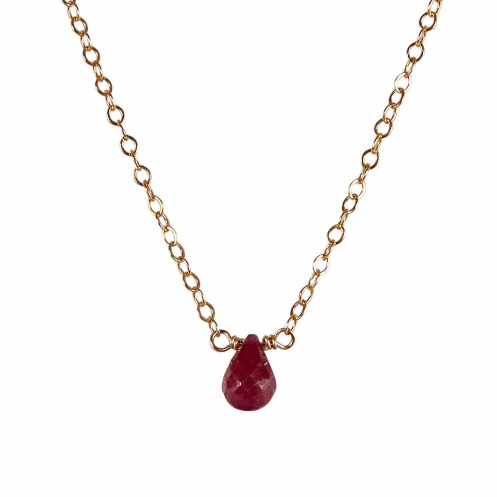 40th Wedding Anniversary | Ruby Briolette Necklace