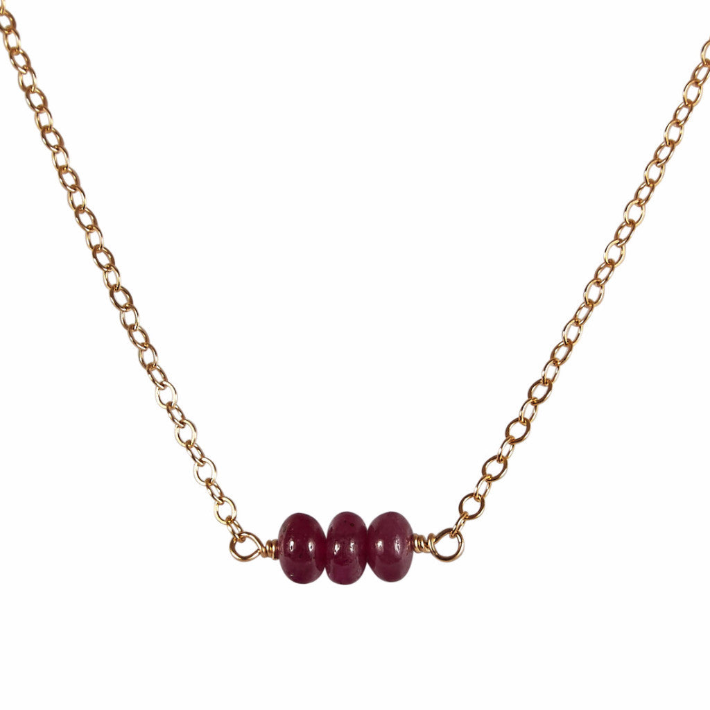 July | Ruby Bead Bar Necklace