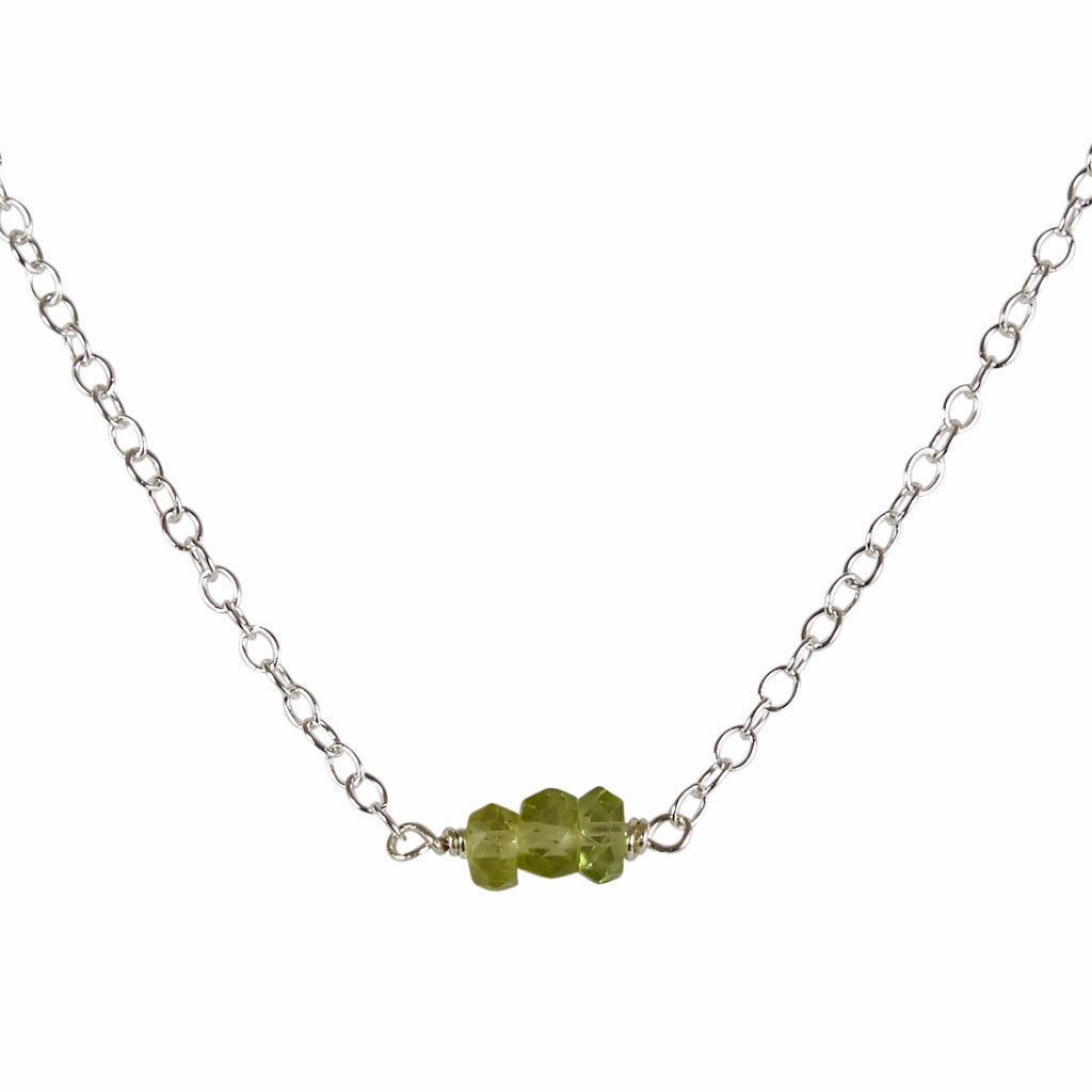 August | Peridot Bead Bar Necklace
