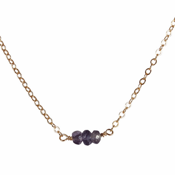 21st Wedding Anniversary | Water Sapphire Bead Bar Necklace