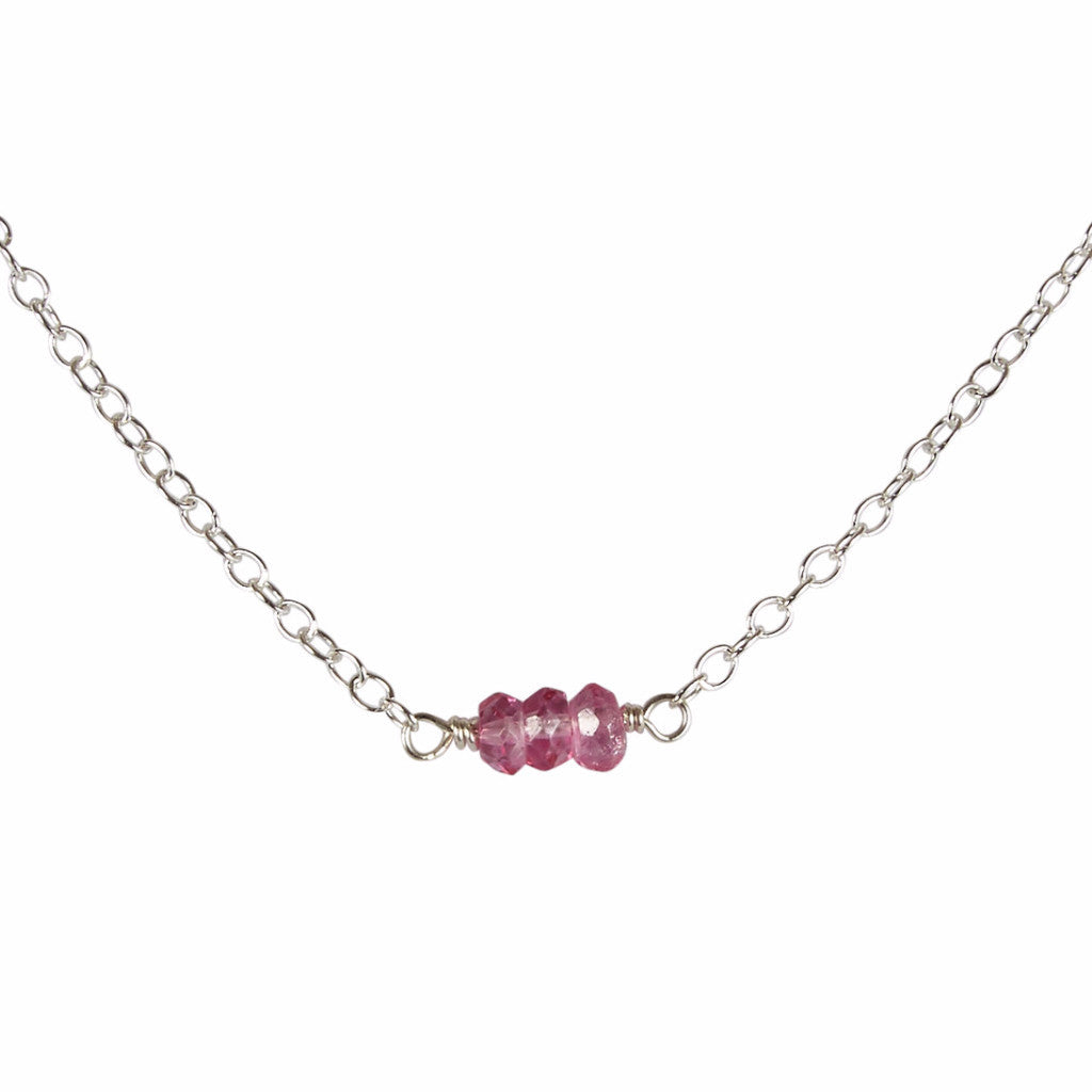 November | Pink Topaz Bead Bar Necklace
