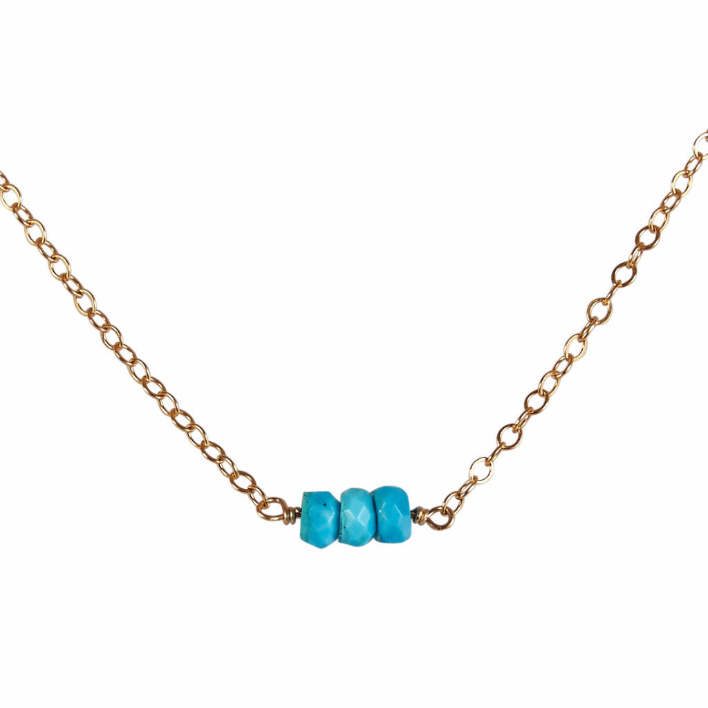December | Turquoise Bead Bar Necklace