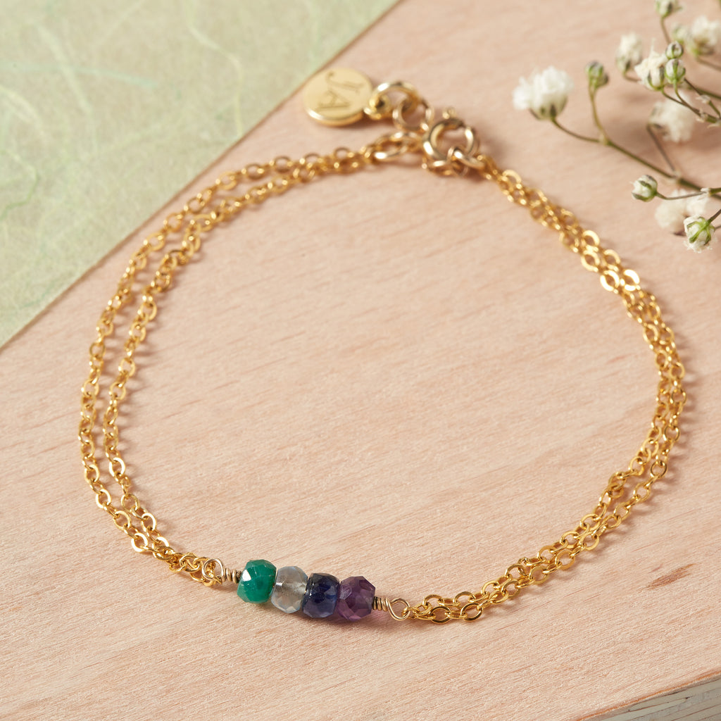 Double Chain Personalised Birthstone 'Matilda' Bracelet (4 Stone)