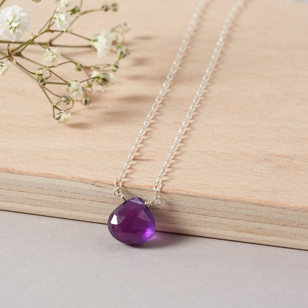 6th Wedding Anniversary | Amethyst Briolette Necklace